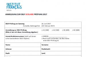 DELF-Anmeldeformular – Anmeldung für DELF Juni 2017