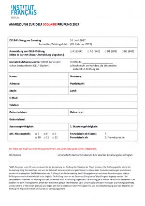 Anmeldung für DELF Juni 2017